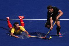 Nick Wilson #32 of New Zealand attempts a shot past Bosco Perez-Pla #5 of Spain during the hockey game on Day 4 of the Rio 2016 Olympic Games at the Olympic Hockey Centre on Aug. 9, 2016.   Best Photos From The Rio Olympics