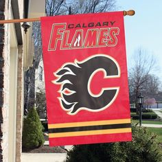 The oversized, x banner flag is made of heavyweight, weather-resistant nylon and showcases high-quality applique and embroidery, leaving no d House With Porch, Hockey Teams, Chicago Cubs Logo, Calgary, Nhl, Applique, Banner, Flag, Awesome