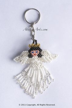 ATITLANARTS ANGEL BEADED KEYCHAIN Beaded Flowers Patterns, Beaded Earrings Patterns, Beading Patterns, Seed Bead Crafts, Beaded Crafts, Jewelry Crafts, Beaded Ornament Covers, Beaded Angels, Beaded Christmas Ornaments