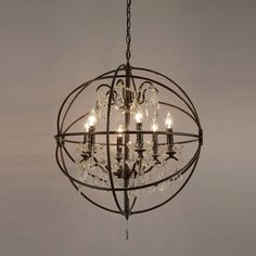Gallery Foucault's Orb Crystal Iron 6-light Chandelier (6 light chandelier orb), Black