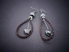 Boucles oreilles gothique maille viking cuivre noir by Vegetalica sur Etsy