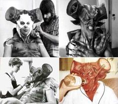 Tim Curry getting his makeup done to be Darkness in Legend