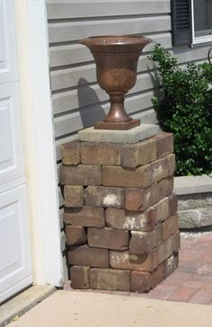 dry stack bricks for a garden column