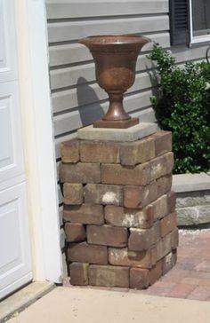 dry stack bricks for a garden column