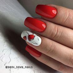 Shiny Nails, Purple Nails, Red Nails, Classy Nail Designs, Red Nail Designs, Nail Swag, Bird Nail Art, Elegant Nail Art, Red Manicure