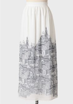 City Skyline Maxi Skirt at Ruche A Line Skirt Pattern, Skirt Patterns, Paris Chic, Cool Outfits, Fashion Outfits, Vintage Inspired Outfits, Affordable Fashion, Passion For Fashion, Fashion Beauty