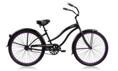 Super Black Women's Single Speed Beach Cruiser - Matte Black / Purple Rims - http://www.bicyclestoredirect.com/super-black-womens-single-speed-beach-cruiser-matte-black-purple-rims/