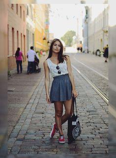 lace tank + skater skirt + sneakers.