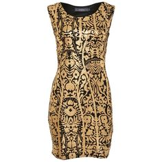 Jasmine Gold Foil Printed Bodycon Dress ($12) ❤ liked on Polyvore featuring dresses, gold, vestidos, bodycon dress, body con dress, gold foil dress, jasmine dresses and body conscious dress