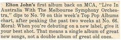 John, Elton / Elton John's First Album Back on MCA | Magazine Article (1987)