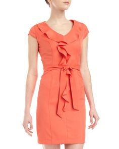 Ruffle-Front Sash-Waist Dress by Sharagano at Last Call by Neiman Marcus.