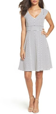Women's Adrianna Papell Stripe Fit & Flare Dress Taking inspiration from nautical fashion, this striped fit-and-flare dress will keep you looking polished from work to after hours. Afflink.