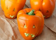 Guacamole Stuffed Jack-O'-Lantern Peppers