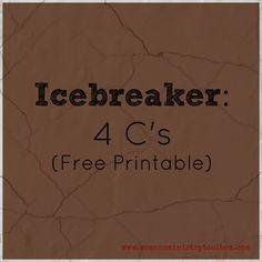 Icebreaker: 4 C's (Free Printable) - This super simple icebreaker is one of my favorites!