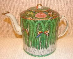 C. 1890 CHINESE EXPORT CABBAGE LEAF TEAPOT For Sale   Antiques.com   Classifieds