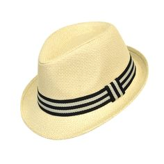 a8f19327485 6pc Boy s Spring Summer Cream Straw Fedora Hats with Black Striped Band  BF9527. Product