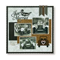 Just Married Divine & Divine #Cricut Cartridge #Scrapbooking Layout  from Creative Memories #wedding    www.creativememor...