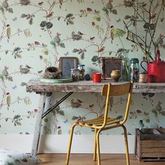 Sanderson Wallpaper - Woodland Chorus The design is painted by watercolour in exquisitely fine detail features beautiful birds and insects. Perfect for a creatives study or playful interior.