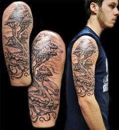 New Tattoo Tree Sleeve Girls 17 Ideas Tree Sleeve Tattoo, Oak Tree Tattoo, Unique Half Sleeve Tattoos, Sleeve Tattoos For Women, Black And Grey Tattoos For Men, Black Tattoos, Bonsai Tree Tattoos, Tree Tattoo Designs, Tattoo Ideas