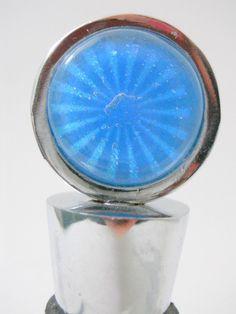 New USA  Hand Blown Glass Blue Dichoric Sun Burst Wine Stopper Cork Oregon Made