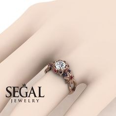 Rose Gold Engagement Ring by Segal Jewelry Unique Diamond Engagement Rings, Antique Engagement Rings, Gold Diamond Rings, Unique Rings, Gold Rings, Wedding Ring, Gold Wedding, Dream Wedding, Types Of Gold