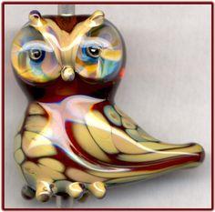 Topaz Raku Owl ~Amber~ 3D Focal Handmade Glass Lampwork Bead Handmade SRA W79 :)♥♥♥