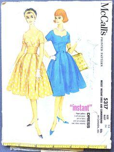 Visit Fancywork Patterns at https://www.etsy.com/shop/Fancywork?ref=shopsection_shophome_leftnav ****************************************************************************** Vintage Sewing Pattern  Bust 34 inches  McCalls 5317; ©1960; Misses Instant Dress and Cummerbund. Dress with sweetheart neckline and four-gore pleated skirt. Front bodice seamed in surplice effect. Unmounted short sleeves. Left side zipper placket. Optional contrasting cummerbund is shirred and ...
