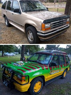 Thermoforming the plexiglass roof for Jurassic Park tour vehicles (Ford Explorer) ( Jurassic Park Car, Jurassic World, Jurrassic Park, Normal Cars, Ford Explorer, Concept Cars, Cool Cars, Cool Photos, Tours
