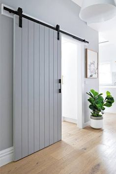 Barn style sliding doors: How & why to get the look, Rustic charm ✨ Barn doors are the answer to giving your home a subtle feature and a point of difference. Interior Barn Doors, Interior Exterior, Interior Design, Barn Style Sliding Doors, Modern Barn Doors, Barn Door Designs, Diy Barn Door, Bedroom Barn Door, New Homes