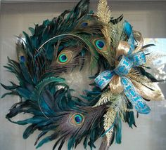 wreath,berry wreath,candlering,holiday wreath,christmas wreath,Peacock wreath,Gold and Peacock wreath. $