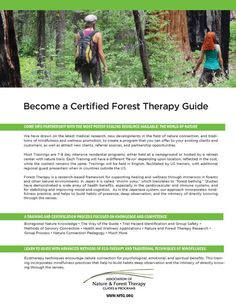 Learn to Guide: shinrin-yoku, forest therapy, ecotherapy, forest bathing, mindfulness in nature.