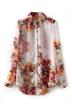 ROMWE | Asymmetric Floral Print Shirt