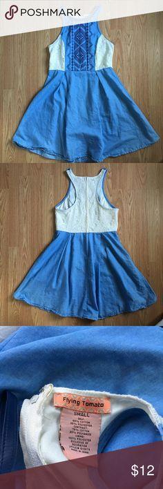 "Denim x Lace Pleated Dress Worn once. I'm 5""2 // 130 lbs // 34C. Flying Tomato Dresses Mini"