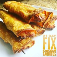21 Tage Fix Chicken Taquitos - 21 day fix - 21 Day Fix Diet, 21 Day Fix Meal Plan, Week Diet, Fixate Recipes, Cooking Recipes, Healthy Recipes, Top Recipes, Healthy Dishes, Healthy Meals