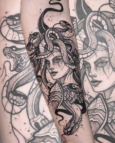Medusa Tattoo Design - Colorful Geek / Nerd / Otaku tattoo created by Brazilian tattoo artist Vinicius F Menoli. See Tattoo, Tattoo Shows, Tattoo You, Medusa Tattoo Design, Tattoo Designs, Wrist Tattoos For Women, Tattoos For Guys, Body Art Tattoos, Sleeve Tattoos