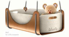 Hanging Cradle that Can Transformed Into a Table – Culla Sospesa - The Great Inspiration for Your Building Design - Home, Building, Furniture and Interior Design Ideas Hanging Cradle, Hanging Crib, Baby Furniture, Cool Furniture, Furniture Design, Green House Design, Kids C, Baby Baskets, Small Baby