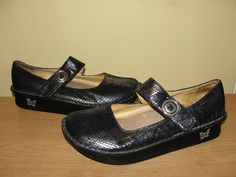 Alegria Womens Shoes Silver Blue Snake Embossed Leather Mary Jane Clogs Size 40 #Alegria #MaryJanes #CasualCareer