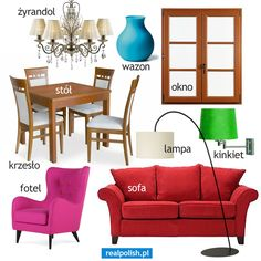 Polish vocabulary - The lounge / dining room Learn Polish, Learn Greek, Polish Language, Gernal Knowledge, Polish Recipes, English Vocabulary, Speech And Language, Logo Nasa, Grammar