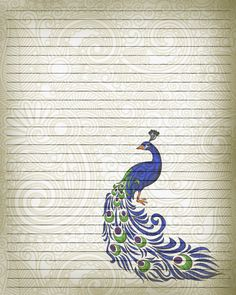 Printable Journal Page Peacock Bird Writing by JournalExpress