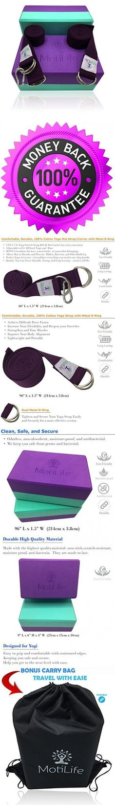 Yoga Blocks 2 pack with Yoga Strap and Yoga Mat Carrier Strap Set - Improve Strength, Flexibility and Deepen Poses | Most Durable Non Toxic Foam Bricks | Lightweight, Odor-Resistant and Moisture-Proof #yogablock