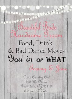 Humorous Wedding Invitation Rustic Lights  by WallflowerEvents, $15.00