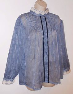 April Cornell M Halifax Sheer Silk Blouse NEW Blue White $99 NWT Romantic Medium #AprilCornell #Romantic #Sheer #Prairie #Silk #Lace