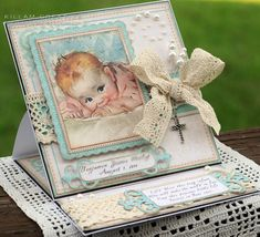 handmade card from Killam Creative ... easel card format for display ... shabby chic collage styling ... adorable vintage baby image ... crochet lace and pearls ... machine sewing and die cut mats ... luv it!
