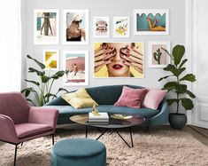 Find inspiration for creating a picture wall of posters and art prints. Endless inspiration for gallery walls and inspiring decor. Create a gallery wall with framed art from Desenio. Spacious Living Room, Living Room Modern, Retro Home Decor, Home Decor Wall Art, Inspiration Wand, Art Mur, Flat Ideas, Modern Interior Design, Bedroom Wall