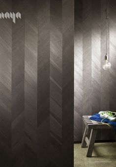 Ajiro Chevron wood veneer wallcovering now comes in Ebony- a black and silver-grey colorway new for 2016