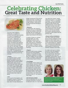 September is Better Breakfast Month and Family Meals Month but you probably didn't know it's also National Chicken Month. Learn all about the role of chicken in a healthy diet in this article in the September issue of Southern Dallas County Business & Living Magazine that Baylor University senior dietetics/nutrition major, Sarah Barnes, wrote while working with me his summer.