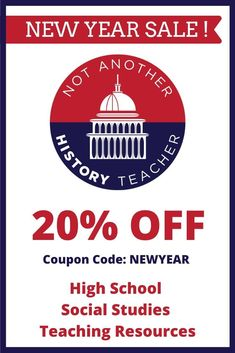 Use this 20% off code in January for any product in the Not Another History Teacher shop! That means a HUGE discount on a bundle! Click now to redeem this coupon code! #notanotherhistoryteacher #socialstudies #highschool #happynewyear #lessonplans #shopthesale