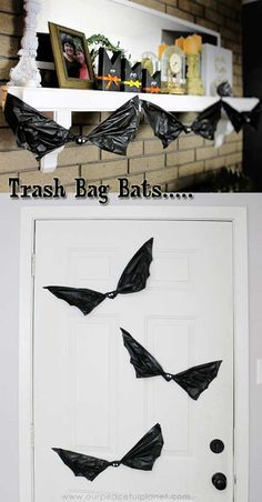 Halloween Bats Made From Trash Bags