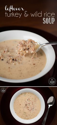 Put that turkey carcass in the slow cooker after your Thankgiving meal and transform it  into the most delicious, rich, tasty, feel good Leftover Turkey & Wild Rice Soup.