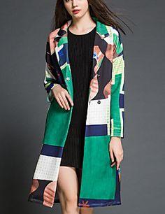 Mulheres Casaco Trench Casual Simples Outono,Color Block Verde Algodão Colarinho de Camisa-Manga Longa Média